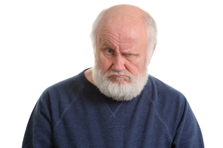 dissatisfied displeased old man isolated portrait Stock Photo