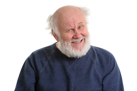 portrait of sarcasticly laughing senior man, isolated on white