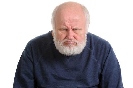 Oldfart gruñón o insatisfecho disgustado anciano retrato aislado Foto de archivo