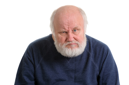 dissatisfied displeased old man isolated portrait 스톡 콘텐츠