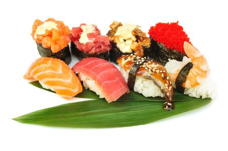 Sushi set of rolls isolated on white Stock Photo