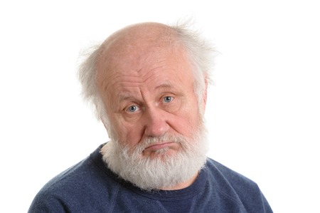 sad depressing old man isolated portrait