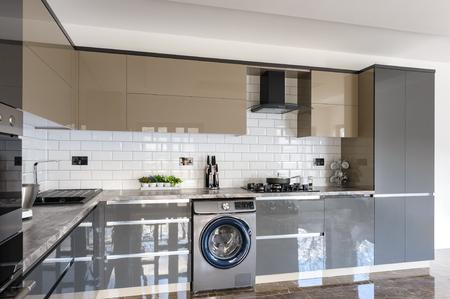 Luxury modern white, beige and grey kitchen interior Stok Fotoğraf