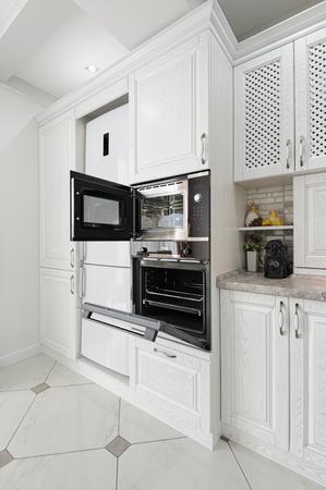 modern white wooden kitchen interior Stok Fotoğraf