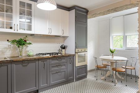 modern grey and white wooden kitchen interior Stok Fotoğraf