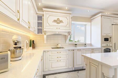 interni di cucina di lusso in stile neoclassico con isola