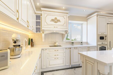 luksusowe wnętrze kuchni w stylu neoklasycznym z wyspą