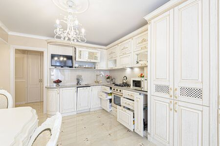 Luxury modern beige and cream colored kitchen interior