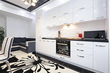 Interior de cocina blanco y negro moderno de lujo