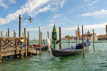 Venice, Italy, Gondolas parked in Grand Canal Stock Photo