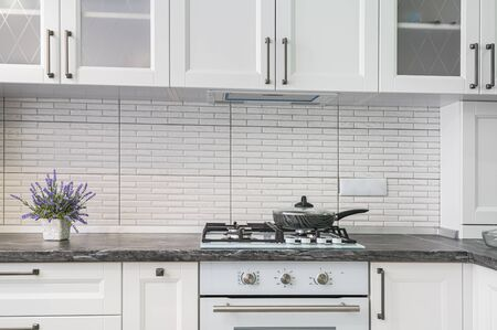 Closeup of simple well designed modern white kitchen interior, low front view