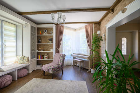 Classic brown and white living room interior Standard-Bild