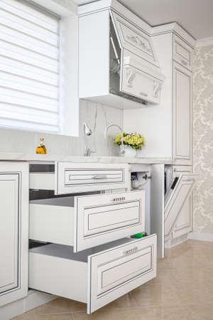 Luxury modern classic white kitchen interior Reklamní fotografie