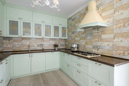 Modern white kitchen clean interior design Stock Photo