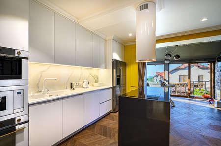Luxury kitchen Interior with minimal design Imagens