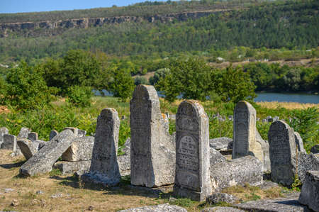 Group of old tombstones at the ancient Jewish cemetery in Vadul liu Rascov in Moldova