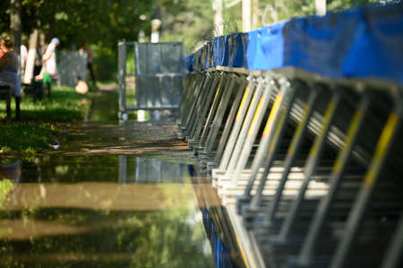 Special water barriers to prevent flood caused by river spill after heavy rains set in Vadul lui Voda beach area
