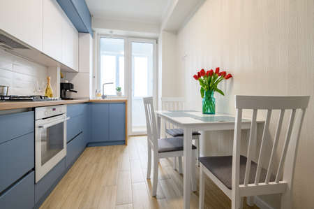 Cozy modern kitchen interior, some drawers pulled out