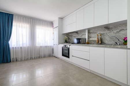 White large modern kitchen interior