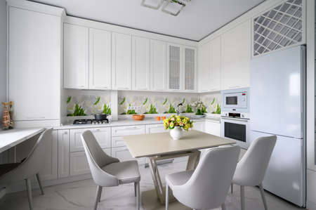 Modern luxurious kitchen and dining room Archivio Fotografico