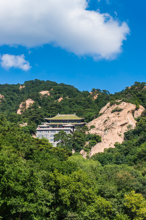 Landscape view of an ancient architectural building in the mountain during summer Editorial