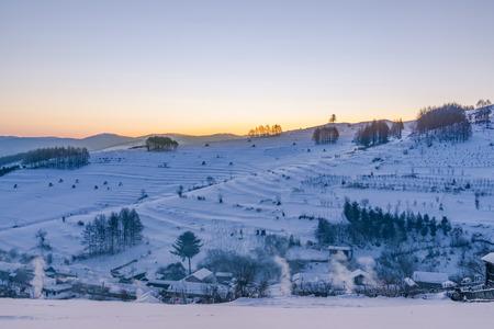 The snow village scenery 스톡 콘텐츠
