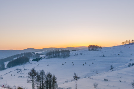 The snow hill scenery 스톡 콘텐츠