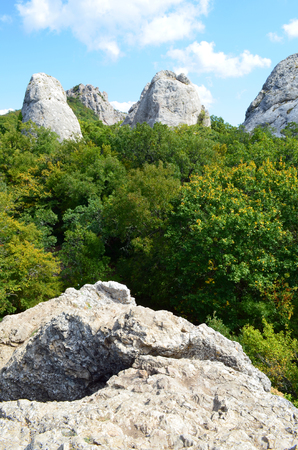 Crimea, the temple of the Sun on the mountain Ilyas Kaya, near the Bay of Laspi. Mysticism place of power 写真素材