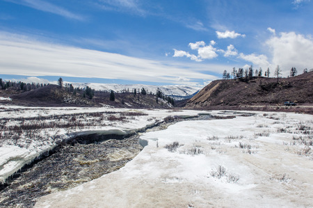 ulagan: Rambunctious river in Altai mountains in spring