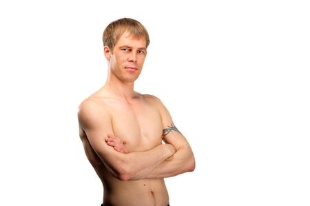 Young man with naked torso portrait isolated on white photo