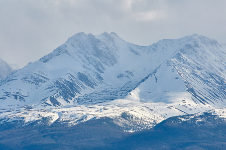 Mountains covered with snow in Altai in spring