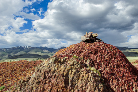 telegraph hill: Place of worship for Altai heathens in bright day
