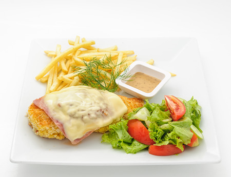 phuket food: Chicken cutlet with ham and cheese isolated on white