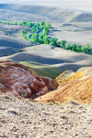 mercury: Color soil of mercury deposits in Altai in Chagan-Ouzun place