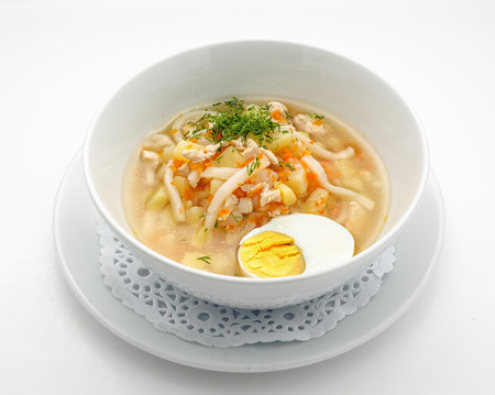 noodles soup: Noodles soup with egg isolated on white Stock Photo
