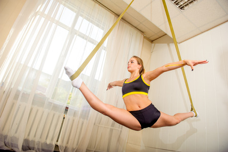 Young flexible attractive gymnast girl posing in the gym
