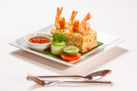 sweet mustard: Shrimps with fried rice and vegetables