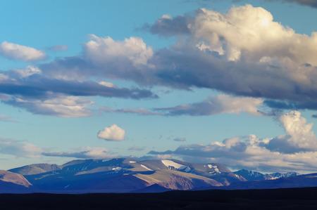 Scenic sunset and sunrise in mountainous region of Altai