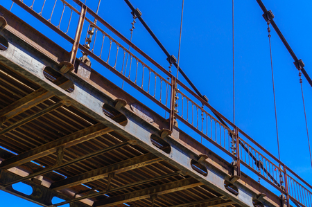 Detail of cable-stayed bridge over river Katun in Altai, in summer Stock Photo