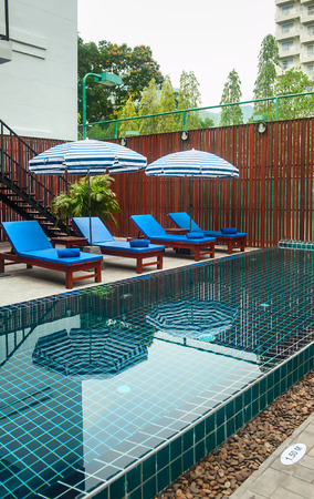 Reception and swimming pool of Thai hotel in Phuket Reklamní fotografie