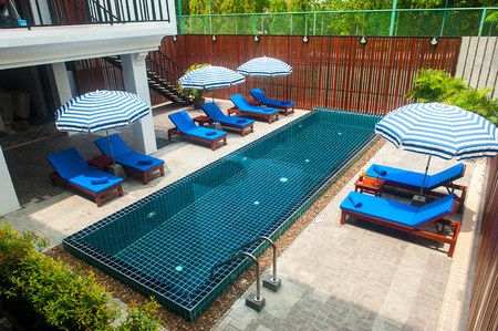 Reception and swimming pool of Thai hotel in Phuket Editorial