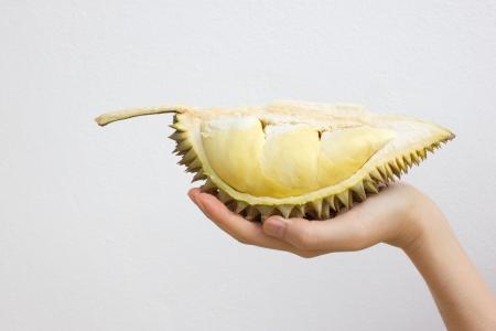 Close up of peeled durian photo