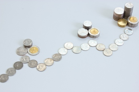 coins stack rising in coins diagram photo