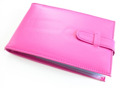 Pink bank book holder, Pink leather bag photo