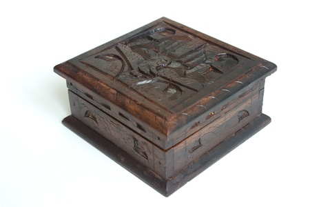 wor: Old style carved wooden box