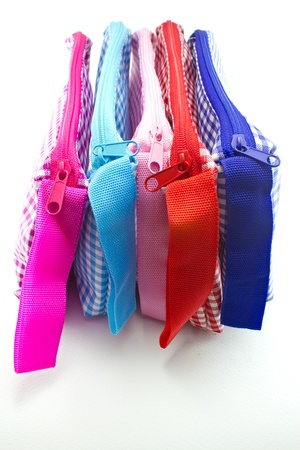 colorful bags with zip and strap photo