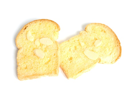 browned: baked butter toast with sliced almonds