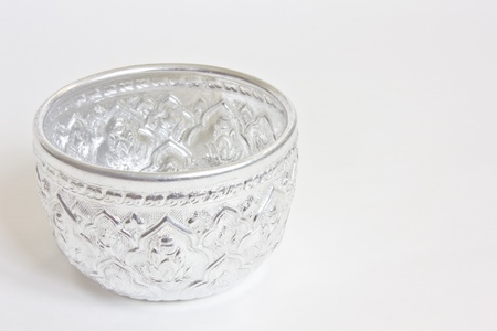 Traditional Thai silver bowl, Thai water bowl photo