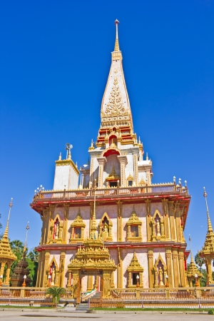 Beautiful Pagoda in Thai temple, Wat Chalong, Phuket, Thailand photo