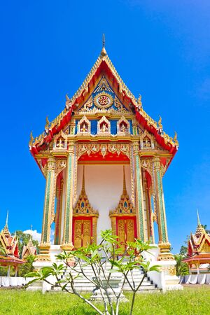 Traditional Thai temple church at Wat BangRaing, Phangnga, Thailand photo